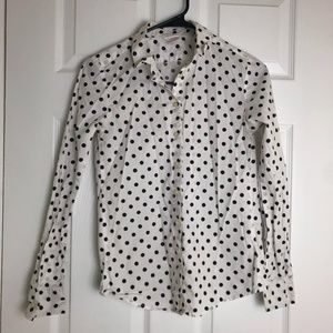Joe Fresh White Polka Dot Button Down Shirt
